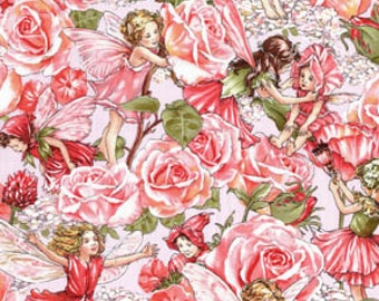 1 y -   DC4220 _ Sweet Rose Garden Fairies with Glider Fabric, 100% Cotton, from the Cecily Mary Barker Fairies Collection.