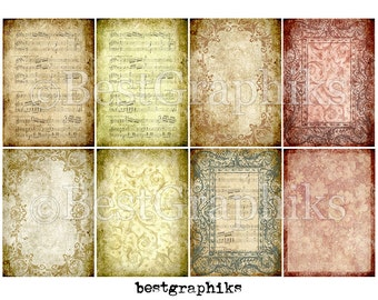 Antique Papers Aceo / ATC Backgrounds Cards Digital Collage Sheet - 8 Backgrounds Digital Collage Sheet A4 Download and Print - Old Papers