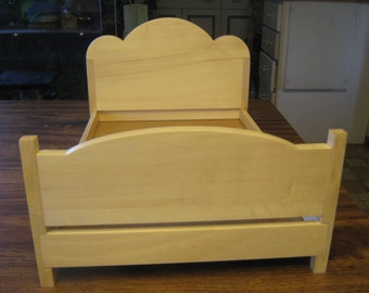 Beautifully hand crafted Barbie bed made with Aspen Hardwood
