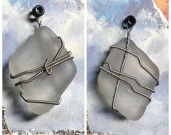 Guitar string wrapped seaglass