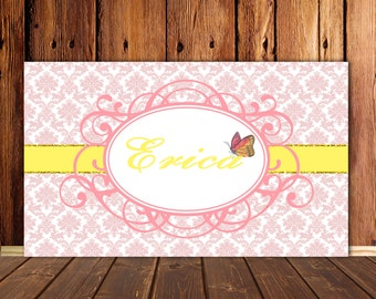 Pink Damask Printable Party Backdrop