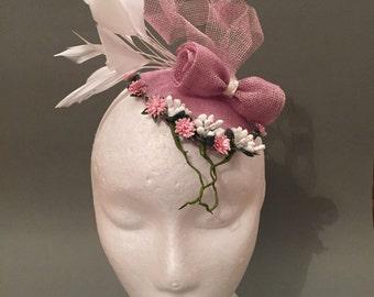 Pink Sinamay Bridal Hat
