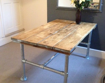 industrial dining table  scaffold board top with galvanised frame