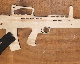 Contact Left Full Size Wooden Training Drill Rifle L85A2 SA80 - Plain Wood