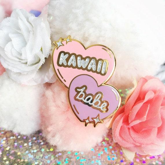 Kawaii Babe – Gold Enamel Pin