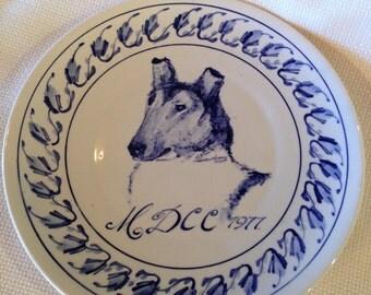 Delft Blue Dog Design Plate