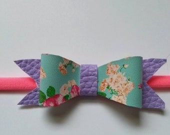 Floral faux leather hairbow/Band Newborn-7 years
