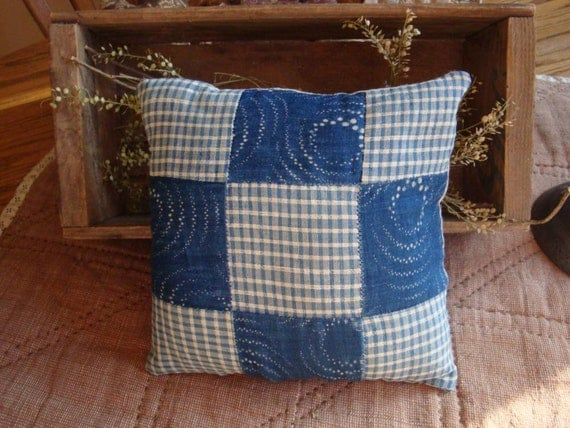 Blue Calico Quilt Square Pillow Vintage Blue Calico and Homsepun Fabric
