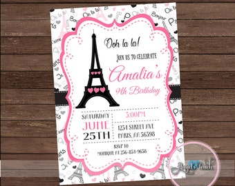 Paris Party Invitation, Paris Birthday Party Invitation, Paris Pink and Black Invitation, Paris Invitation, Digital File.
