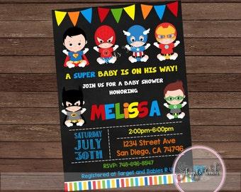 Super Hero Baby Shower Invitation, Superheroes Baby Shower Invitation, Superheroes Baby Shower Chalk, Super Hero Invitation, Digital File