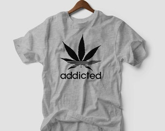 Marijuana Weed LEAF T-SHIRT addicted kush pot leaf cannabis unisex tee