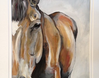 Original Acrylic Horse Painting, Bay Mare