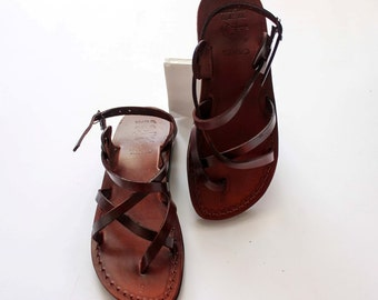 Strappy leather Jesus sandals for women , brown genuine leather women  sandals , leather sandels ,women  sandals  from Jerusalem