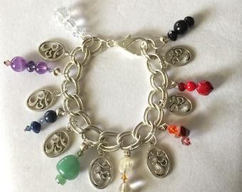 Gemstone Siver Om Charm Bracelet