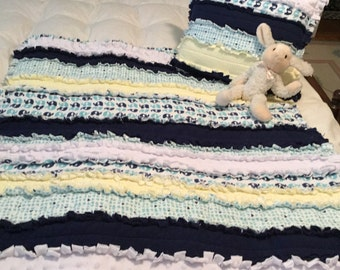 Flannel Quilt, Rag Crib Quilt, Nursery Quilt, Boys Flannel Quilt, Rag Crib Quilt in Navy, Turquoise, Yellow and White, Baby Boys Rag Quilt