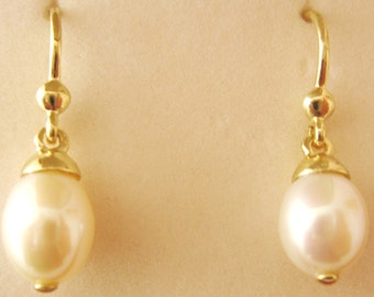 Genuine SOLID 9K 9ct YELLOW GOLD June Birthstone Natural White Pearl Earrings