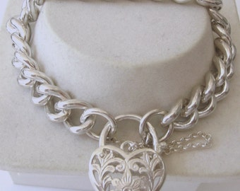 Genuine SOLID 925 STERLING SILVER Heavy Curb Bracelet with Padlock 21 cm length