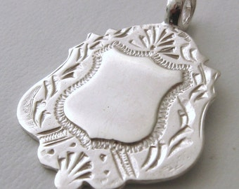Genuine SOLID 925 STERLING SILVER Shield Pendant