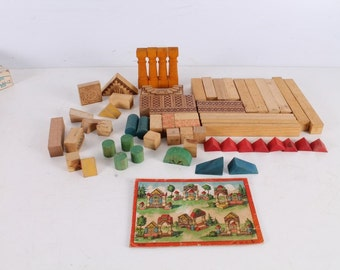 Vintage Old Children's Wooden Constructor.