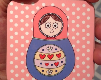 Russian Doll Coaster Pink
