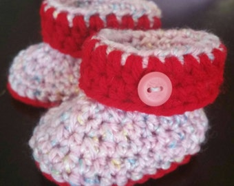 Baby Booties Red & Pink