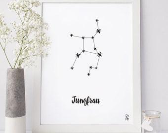 Star Sign/ Horoscope / Poster / Printable Walldecor / Virgo / Wall Art / Black White / digital / INSTANT DOWNLOAD