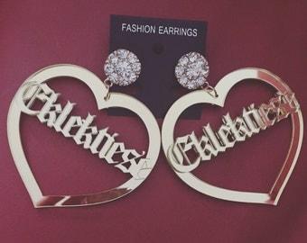 Customised Written Across My Heart Earrings
