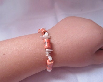 Pink stone and pink round beads bracelet