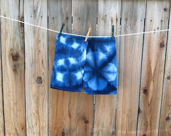 Shibori Indigo Dyed Tea Towels