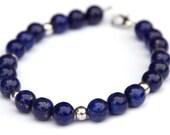 Lapis lazuli and Tibetan silver bracelet - semi-precious gemstones