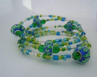 Lovely Blue and Green Handmade Bead bracelet