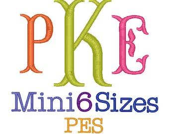 Mini Fishtail Monogram Font 6 Sizes, Monogram Fonts Embroidery Font ,Machine Embroidery PES Format,Monogram Embroidery,Monogram Font