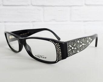 Caviar 6173 vintage eyeglasses, Caviar cat eye frames black with clear crystals, Vintage eyewear