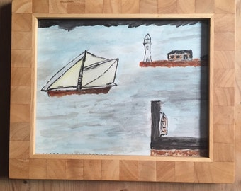 Cornish Harbour Alfred Wallis inspired