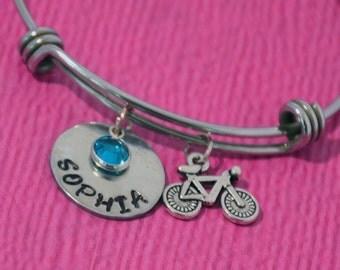 Personalized Girls Bracelet | Bicycle Charm Bracelet | Bike Bracelet | Bicycle Bracelet | Bicycle Jewelry | Bike Charm Bangle | Cyclist Gift