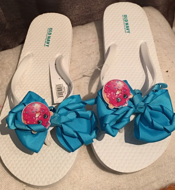 Shopkins WHITE Girls Custom Flip Flops  All Sizes All Colors