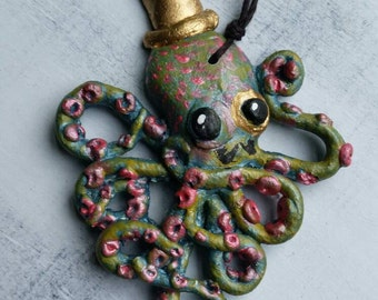 Gentleman Octopus Necklace -ready to ship