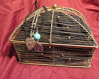 Wire basket trinket box jewelry box decorative gold box lidded collectible vintage 90s.