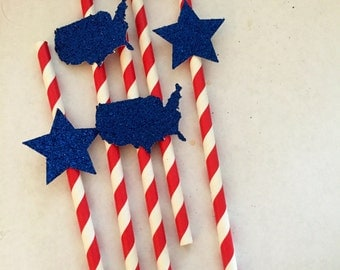 15 Fourth of July Straws; 4th of July Party; Independence Day; Paper Straws; 4th of July Party Decorations; Red White and Blue; America