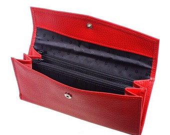 Leather women's Wallet//Classic red Clutch//Bilateral Wallet