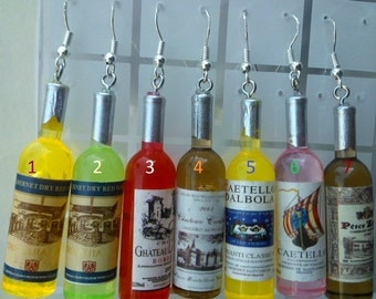 Wine Bottle Earring - MIX AND MATCH choose your color! yellow green red pink brown
