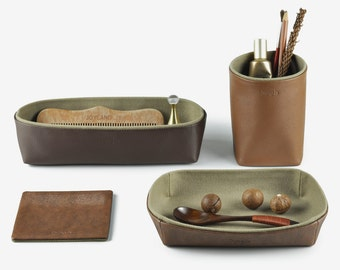 Desk Organization, Desk Organizer, Desk Set - Pencil Holder, Storage Box, Tray, Coaster, Set of 4 Items, Brown
