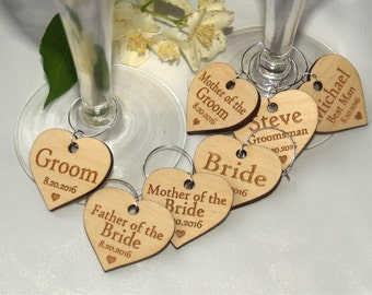 Wedding wine charms, Wine charms, Wine glass charms, Wedding charms, Custom wine charm, Wooden wine charms, Wedding favor, Wedding charms