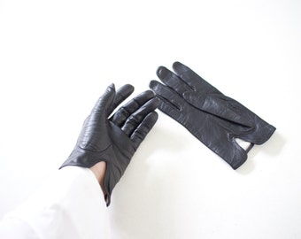 Minimal black thin leather gloves | Size S