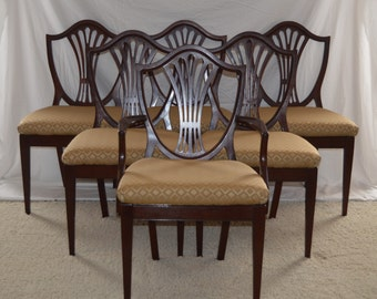Set of 6 Vintage Mahogany Chairs  Hand Refurbished New Upholstery