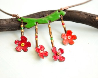 Japanese Quince Flower, Enamel Necklace, Flower, Natural Jewelry, Blossom Jewelry, Quince Blossom, Flower Necklace, Enamel Flower Necklace,