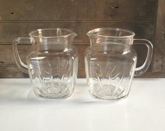 Vintage Pair of Juice Pitchers, Federal Star Pitchers, Glass Pitchers, Beverage, Drink, Cottage Chic, Rustic Decor, Farmhouse Decor