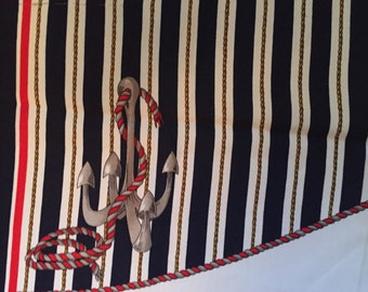 Vintage Navy Nautical square scarf, 1980s