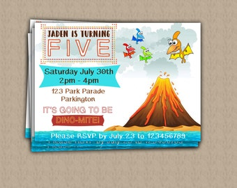 Pterodactyl Volcano Personalised Party Invite DIGITAL