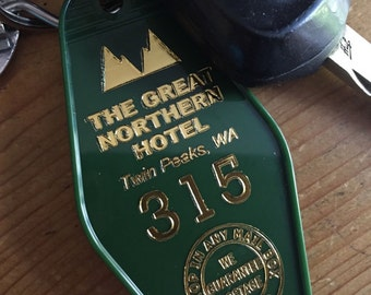"Twin Peaks Inspired ""GREAT NORTHERN HOTEL keychain - Green with Gold Lettering  (front side printed)"